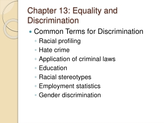 Chapter 13: Equality and Discrimination