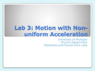 Lab 3: Motion with Non-uniform Acceleration