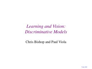 Learning and Vision: Discriminative Models