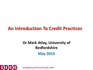 An Introduction To Credit Practices