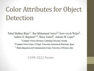 Color Attributes for Object Detection