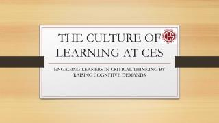 THE CULTURE OF LEARNING AT CES