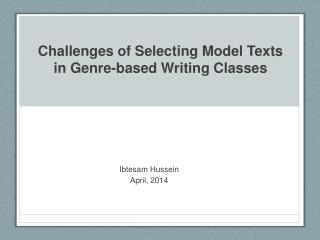 Challenges of Selecting Model Texts in Genre-based Writing Classes