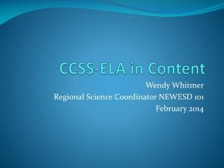 CCSS-ELA in Content