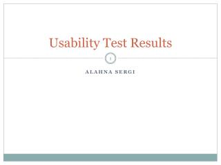 Usability Test Results