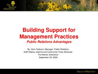 Building Support for Management Practices Public Relations Advantages