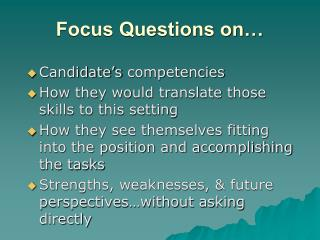 Focus Questions on…