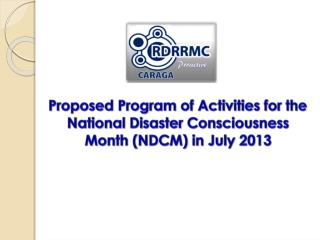 Proposed Program of Activities for the Observance of NDCM in July 2013