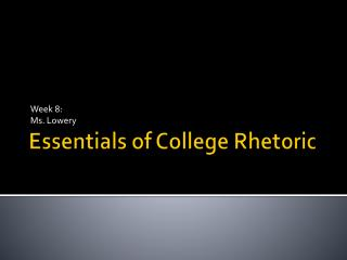 Essentials of College Rhetoric