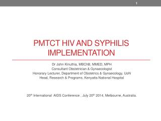 PMTCT HIV  and syphilis  Implementation
