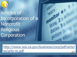 Articles of Incorporation of a  Nonprofit Religious Corporation