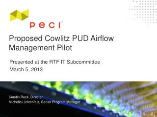 Proposed Cowlitz  PUD Airflow Management Pilot
