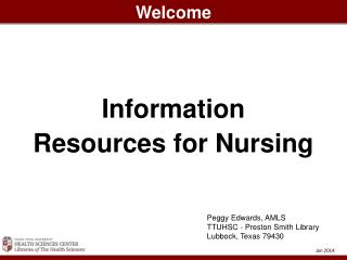 Information Resources for Nursing