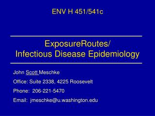ExposureRoutes/ Infectious Disease Epidemiology