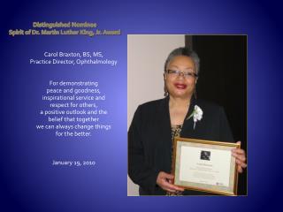 Distinguished Nominee Spirit of Dr. Martin Luther King, Jr. Award