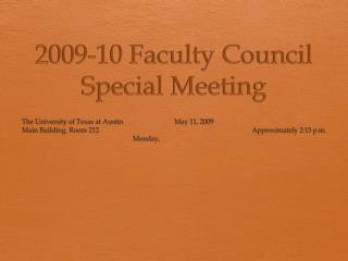 2009-10 Faculty Council Special Meeting