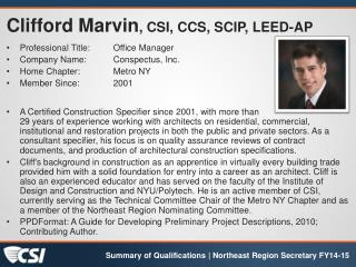 Clifford  Marvin , CSI, CCS, SCIP, LEED-AP