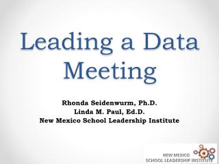 Leading a Data Meeting