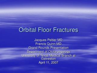 Orbital Floor Fractures