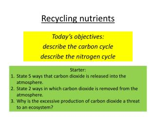 Recycling nutrients