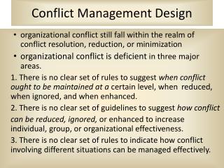 Conflict Management Design