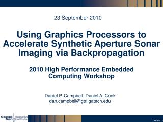 Using Graphics Processors to Accelerate Synthetic Aperture Sonar Imaging via Backpropagation