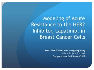 Modeling of Acute  R esistance  to the HER2  Inhibitor ,  L apatinib , in  Breast  C ancer  C ells