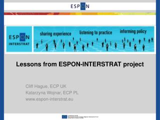 Lessons from  ESPON-INTERSTRAT  project