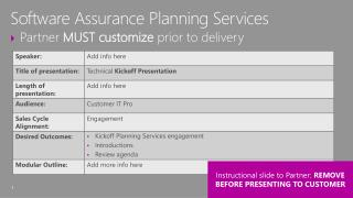 Partner  MUST customize  prior to delivery