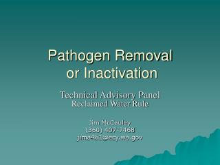 Pathogen Removal  or Inactivation