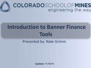 Introduction to Banner Finance Tools