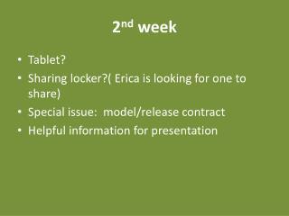 2 nd week