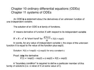 Chapter 10 ordinary differential equations (ODEs) Chapter 11 systems of ODEs