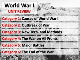 World War I  Unit Review