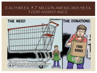 Each week 5.7 million Americans seek food assistance