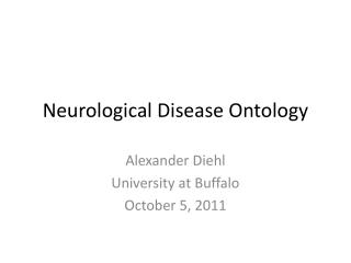 Neurological Disease Ontology