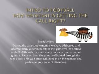 Intro to Football How  important  is getting the call right?
