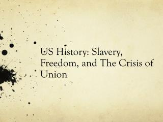 US History:  Slavery, Freedom, and The Crisis of Union