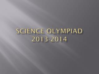 Science Olympiad 2013-2014