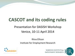 CASCOT and its coding rules