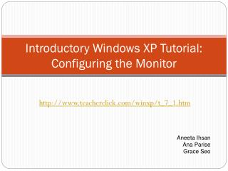 Introductory Windows XP Tutorial: Configuring the Monitor