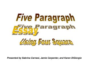 Writing the Five Paragraph Essay