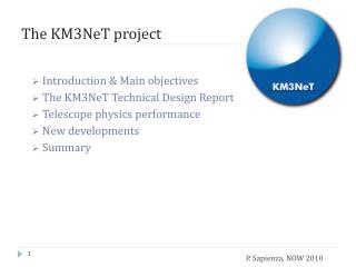 The  KM3NeT project