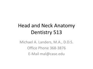Head and Neck Anatomy  Dentistry 513