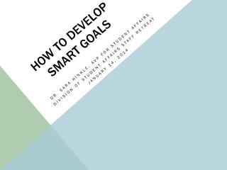 How to develop  smart goals