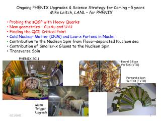Ongoing PHENIX Upgrades & Science Strategy for Coming ~5 years Mike Leitch, LANL – for PHENIX