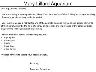 Dear Aquarium Architects,