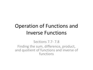 Operation of Functions and Inverse Functions