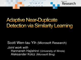 Adaptive Near-Duplicate Detection via Similarity Learning