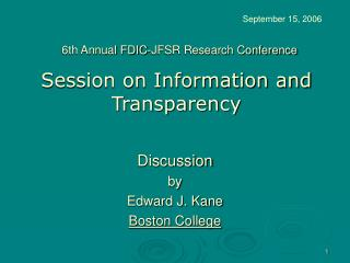 Session on Information and Transparency